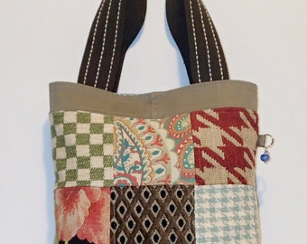 Quilted Patchwork Tote Bag Purse made from Recycled Upcycled Repurposed Material