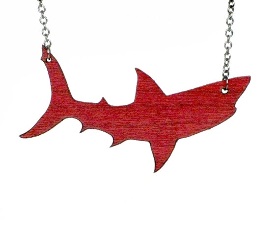 Shark Necklace Red Wood and Brushed Steel Reversible Pendant SALE