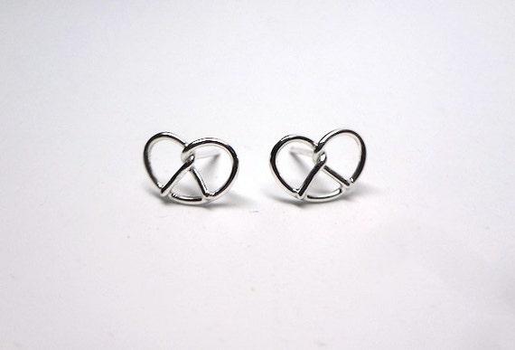 Silver Pretzel Earrings by Sarah Cecelia Philly love knot earrings