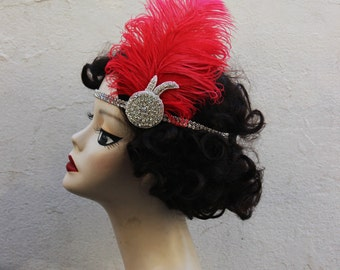 Super Glam, Red, Great Gatsby, Feather Headband, Bridal Head Piece, 1920's Flapper,Crystal Head Dress,  Batcakes Couture