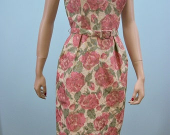Vintage 60s Dress & Jacket / Pink Green Floral Print / Spring Fling / S M