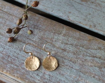 Small 14 K Gold Filled Hammered Disc Earrings - Handmade Jewelry - Textured - versatile