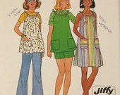 Vintage 70's Sewing Pattern, Maternity Dress, Top, Pants, or Shorts, Size 14