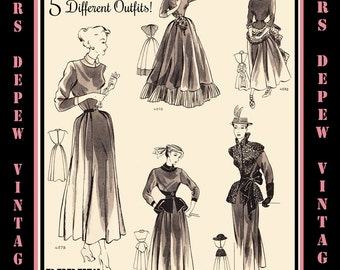 Vintage Sewing Pattern 1940's Dress in 5 Ways with Accessories in Any Size # 4578 Draft at Home Pattern - PLUS Size  -INSTANT DOWNLOAD-