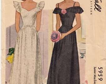 Vintage Sewing Pattern McCall's 5959 Ladies' Evening Gown 1940's 36 Bust - With FREE Pattern Grading E-Book Included