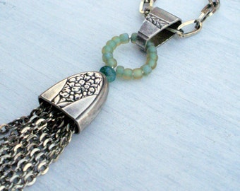 Belief...Ceramic, Silver, Glass, Silk and Found Object Necklace