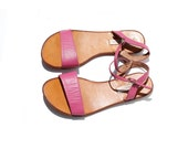size 8 Pink Leather Strappy Sandals