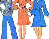 1970s One Piece Two Piece Wrap Dress Wrap Blouse A Line Skirt Womens Pants McCalls 3644 Vintage Sewing Pattern Bust 44 Plus Size Uncut