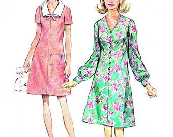 1970s Dress Pattern Simplicity 8706 Mod V Neck Day Dress Evening Dress A Line Dress Contrast Collar Womens Vintage Sewing Pattern Bust 44