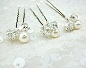 Wedding Hair Pins, Pearl Hair Pins, Pearl Bobby Pins, U-Pin Bridal Hair Accessory, Swarovski Hair Accessory, Pearl and Rhinestone Hair Pins