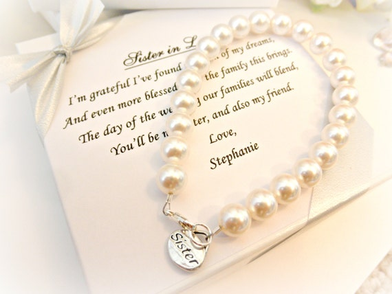... Bracelet, Sister In Law Bridesmaid Attendant Wedding Gift for sister