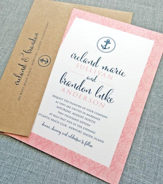 Ireland coral nautical anchor wedding invitation sample for Etsy wedding invitations ireland