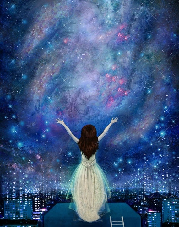Reach For The Stars print 8X10 star painting empowerment