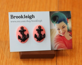 Cabochon earrings, Rockabilly ANCHOR design, Vintage/ Retro inspired - Black/pink