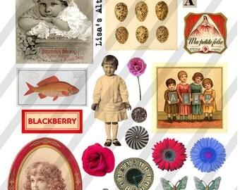 Digital Collage Sheet Ephemera Vintage Images  (Sheet no. O61) Ephemera-Instant Download