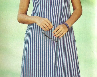 1980s Sundress Pattern Butterick Vintage Tied Shoulder Sewing Women's Misses Uncut Sizes 8 - 12 Bust 31 . 5 - 34 Inches