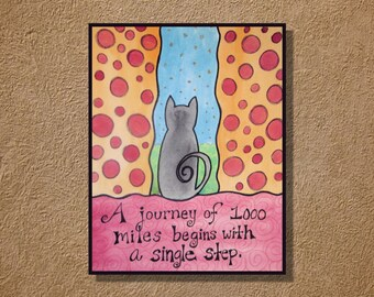 Journey Inspiration Cat Original Watercolor Drawing 9x12