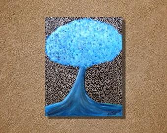 Big Blue Tree Large Colorful Original Acrylic Painting 22x28