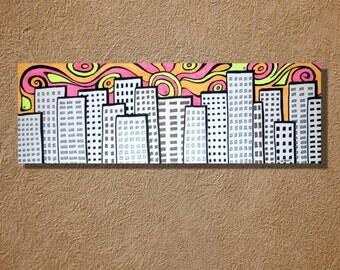 Groovy Sunrise City Ink Original Drawing Artwork 6 x 18