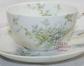 Antique Theodore Haviland Limoges France Blue Tea Cup & Saucer Green Spring Flower Garden Vintage 1910s French Designer Porcelain China Gift