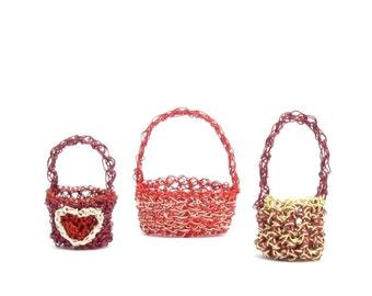 Miniature crochet wire baskets, set of 3 red - mini baskets, doll baskets, easter baskets, crochet container, gift baskets. cute crochet