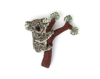 Koala jewelry - koala climbing a tree brooch, animal brooch, tree jewelry, koala in a tree, crochet wire, handmade jewelry, cute accessories