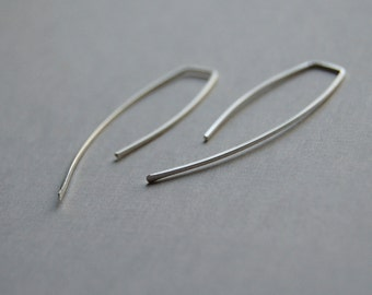 Hammered Sterling Silver Earrings - Simple, Modern Jewelry - Squared Arcs in Sterling Silver Medium - by kusu