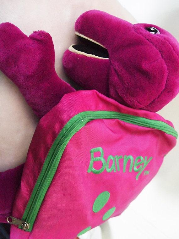 Barney The Dinosaur Vintage 90s Kids Mini Backpack Plush