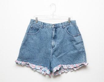 Vintage 90s L.A. Blues PLUS SIZE Floral Trim Grunge Shorts - Size 18