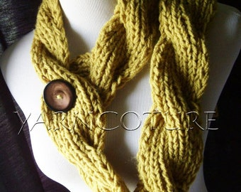 The Chunky CABLED Knit Twist Scarf - Rustic - In  Olive Green / Lemongrass