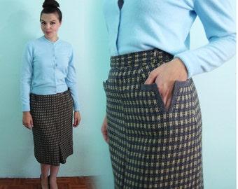 1950s Subtle Chic Pencil Skirt - Vintage Grey Pockets