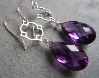 Faceted Purple Earrings, Kunzite Quartz Earrings, Kunzite Earrings, Moroccan earrings, Mini Mo Kunzite Drop Earrings , Gemstone Earrings