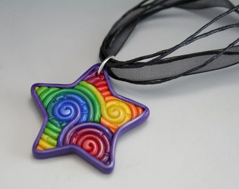 Rainbow Star Pendant in Polymer Clay Filigree (Small)