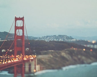 Golden Gate Bridge, San Francisco photograph, twinkly lights, bokeh photography, cityscape red blue, gold dreamy photo, love California