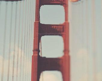 Golden Gate Bridge photo, Bay area, San Francisco print, travel photography, architecture, red loft wall art, California, bienvenidos