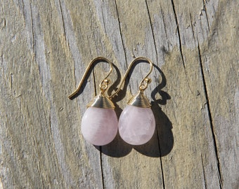 Pale Pink Wire Wrapped Quartz, 14K Gold Wires
