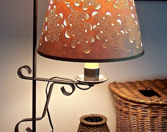 Autumn Oak Leaf Cut & Pierced Lampshade Only -  Choose Your Fitting - Bulb Clip On or Washer for Harp
