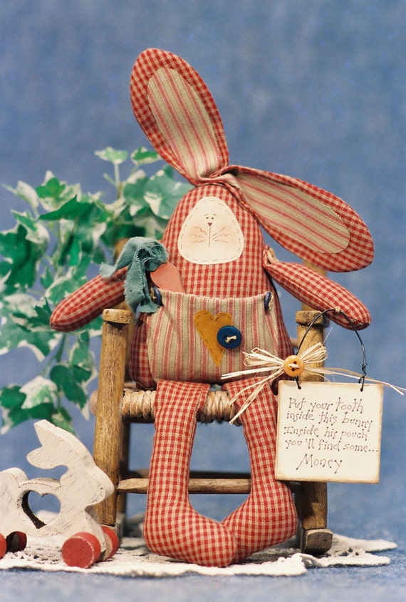 Cloth Doll E-Pattern 13in Tooth Fairy Keepsake Bunny Doll