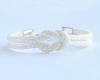 White forever knot parachute cord nautical rope bracelet