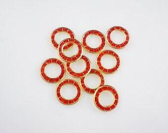 Bezel Set Rhinestone Findings Swarovski Hyacinth Red Orange Multi Rhinestone Round Findings Brass Rhinestone Disk
