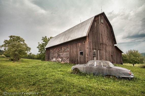 Old Car Barn Rustic Landscape Vintage By Garyhellerphotograph