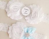 Personalized Garter Set - White Lace Garter Set - Bridal Garter with Toss Garter