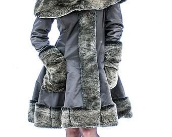 Winter Wonderland Coat Grey Faux Fur - Wedding Jacket- Gothic Lolita Style-Custom to your size