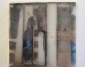 Old Books - Original Encaustic Photograph on Wood Block