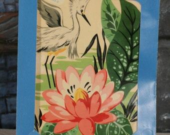 Meyercord Transfer Decals pink Waterrlily stork 50s Bathroom Vintage unopened