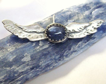 Kyanite Wings pendant, angel wings, angel wing pendant, sterling silver gemstone jewelry with wings, aviation pendant