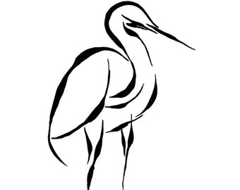 Egret Bird Black and White Giclee Print Minimalist Line Art Abstract