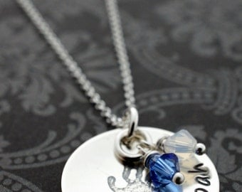 Personalized Birthstone Necklace - Sterling Silver Cup of Love Pendant w/ Hand Stamped Engraved Children's Names and Birthstone Crystals