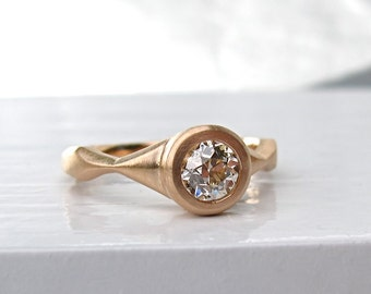 Low profile engagement ring, bezel set 18kt rose gold semi-mount, Sail Ring antique style engagement ring mounting
