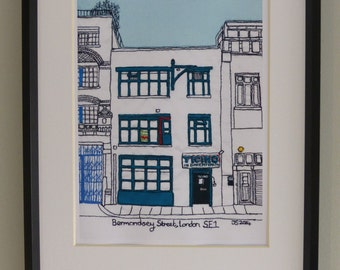 Ticino Bakery, Bermondsey Street, London SE1, England.Quality print of original free-motion machine embroidery picture.